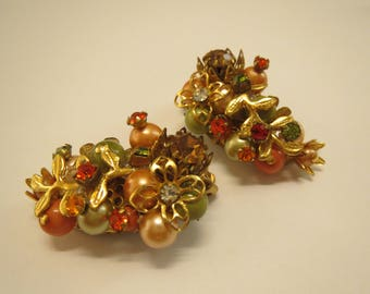 stunning floral autumn colored vintage clip on earrings