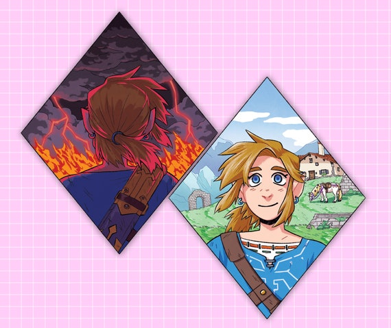 Botw Mini Print Set Link Legend Of Zelda Breath Of The Wild Fanart Illustration Cartoon
