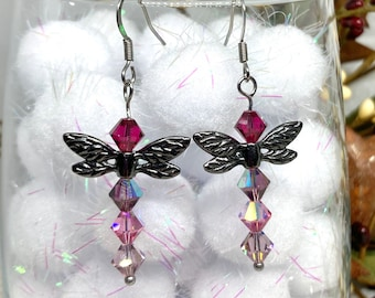 Faceted Crystal Gifts For Her Totem Dragonflies Outlander Jewelry Celtic Jewellery Handmade Gift Memorial Keepsake Dragonfly Earrings