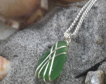 Sea Glass Necklace - Sea Glass Jewellery - Sea Glass Pendant - Sea Glass Jewelry - Green Sea Glass Necklace - Green Sea Glass - Silver