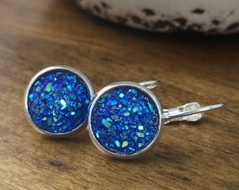 Druzy Earrings, Sparkle Lever Backs, Glitter Earrings, Druzy Lever Backs, Sparkle Earrings, Blue Earrings, Bridal Earrings, Mother's Day