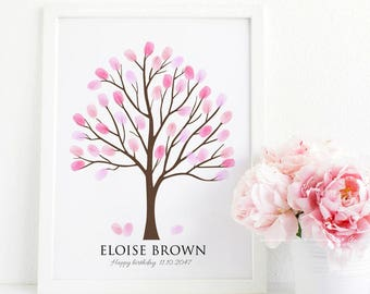 Fingerprint tree guestbook alternative, Thumbprint tree poster guest book, baby shower personalized gift, birthday gift digital file