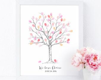 Fingerprint Tree Guestbook Alternative, Custom Thumbprint Tree Guest book, Baby Shower Gift, Birthday, Family Tree, Digital File Printable