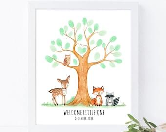 Woodland animals baby shower fingerprint tree guestbook, forest animals birthday thumbprint guestbook, baby shower gift, birthday tree gift