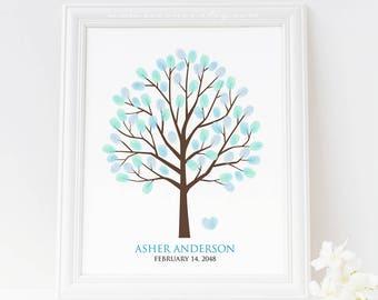 Fingerprint tree guest book alternative, Thumbprint tree poster, Birthday tree guestbook, Family tree, Teacher tree gift, baby shower gift