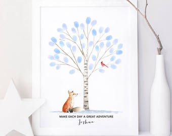 winter fox cardinal fingerprint tree guestbook alternative, thumbprint tree guest book poster birthday gift, retirement gift printable