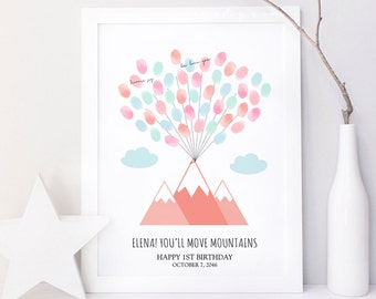 Kid You'll move mountains Fingerprint guestbook, mountain thumbprint guest book, Baby shower gift, Birthday, Digital file printable DIY