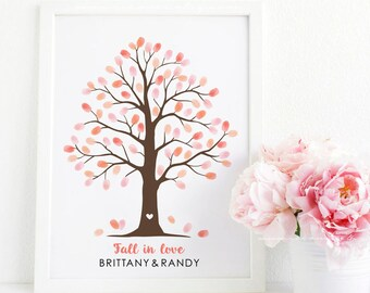 Fingerprint tree guest book alternative, Thumbprint tree poster guestbook, fall tree baby shower gift, birthday gift digital file printable