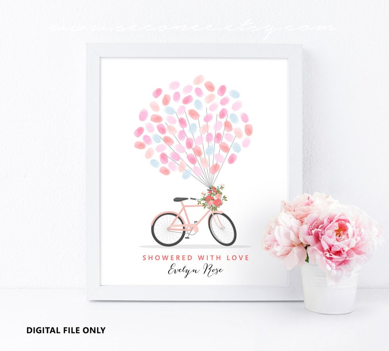 Birthday gift Teacher appreciation gift printable poster Baby shower Bicycle Thumbprint guestbook Bridal shower Fingerprint guestbook