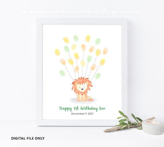 Lion Fingerabdruck Gastebuch Geburtstag Fingerabdruck Plakat Etsy