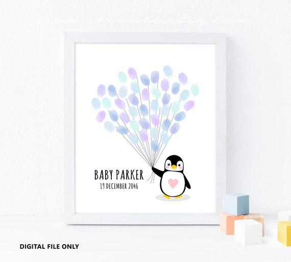 Penguin Fingerprint Guestbook Alternative Baby Shower Gift Etsy