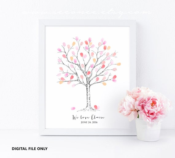Fingerprint Tree Guestbook Thumbprint Tree Guest Book Baby Etsy