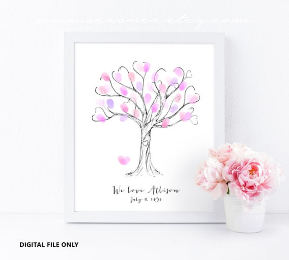 Fingerprint Tree Guestbook Thumbprint Guest Book Birthday Etsy