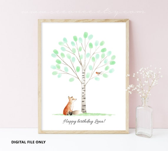 Fox Fingerprint Tree Guest Book Poster Forest Thumbprint Etsy