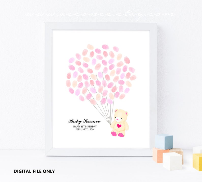 Pictures For Guests Fingerprints And Wishes: Little Bear Fingerprint Guestbook Thumbprint Guest Book