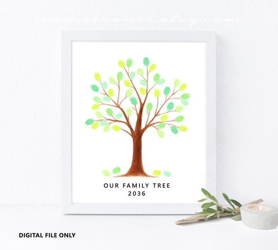 Fingerprint Tree Guestbook Thumbprint Tree Guest Book Family Etsy