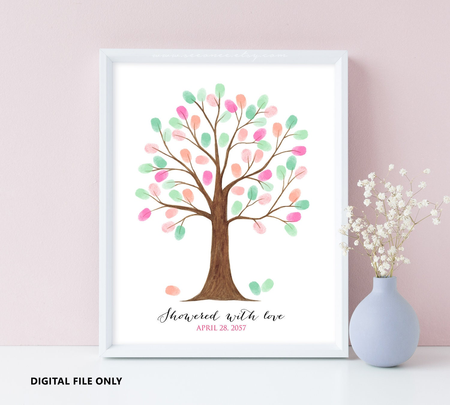 Judith tree instant download fingerprint wedding thumbprint bridal shower decoration birthday party gift event memory colored guest book