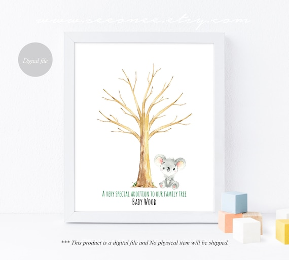 koala birthday gift Printable Digital file Koala thumbprint tree baby shower guestbook Koala Fingerprint tree guestbook alternative