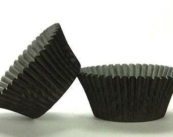 Gunmetal Black Baking Cups 45 solid black paper cupcake liners