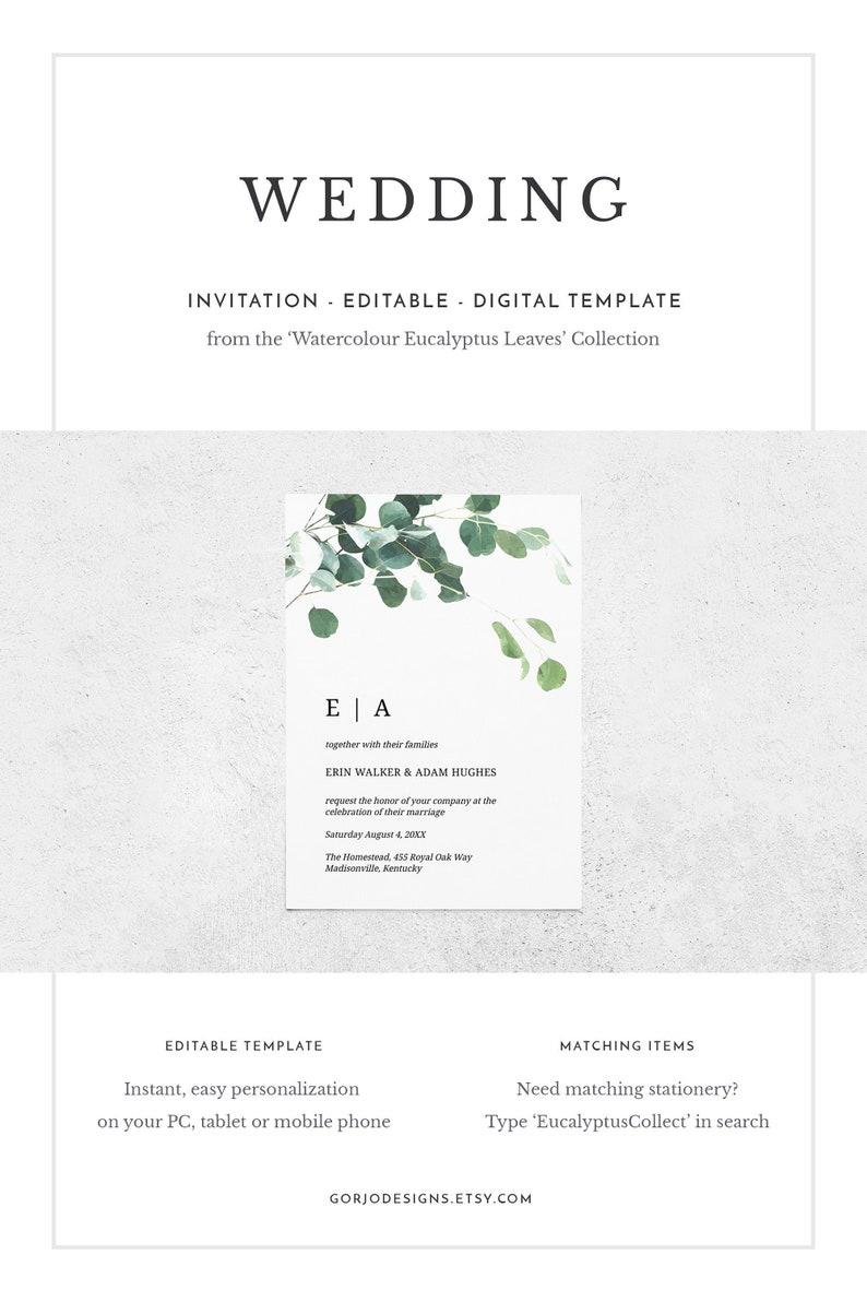 eucalyptus wedding invitation botanical wedding Greenery wedding invitation template watercolor wedding printable wedding invitation