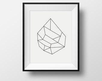 Hexagon Wire, Minimalist Wall Art, Abstract Art Print, Modern Art,  Scandinavian Art, Industrial Art