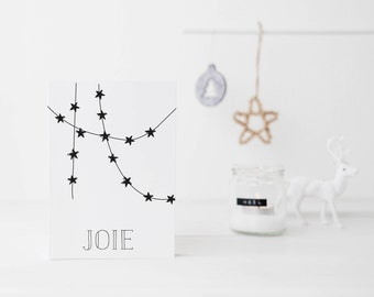 Rustic greeting cards, christmas greeting cards, joy greeting cards, black cards, modern, minimalist, package of christmas greeting cards