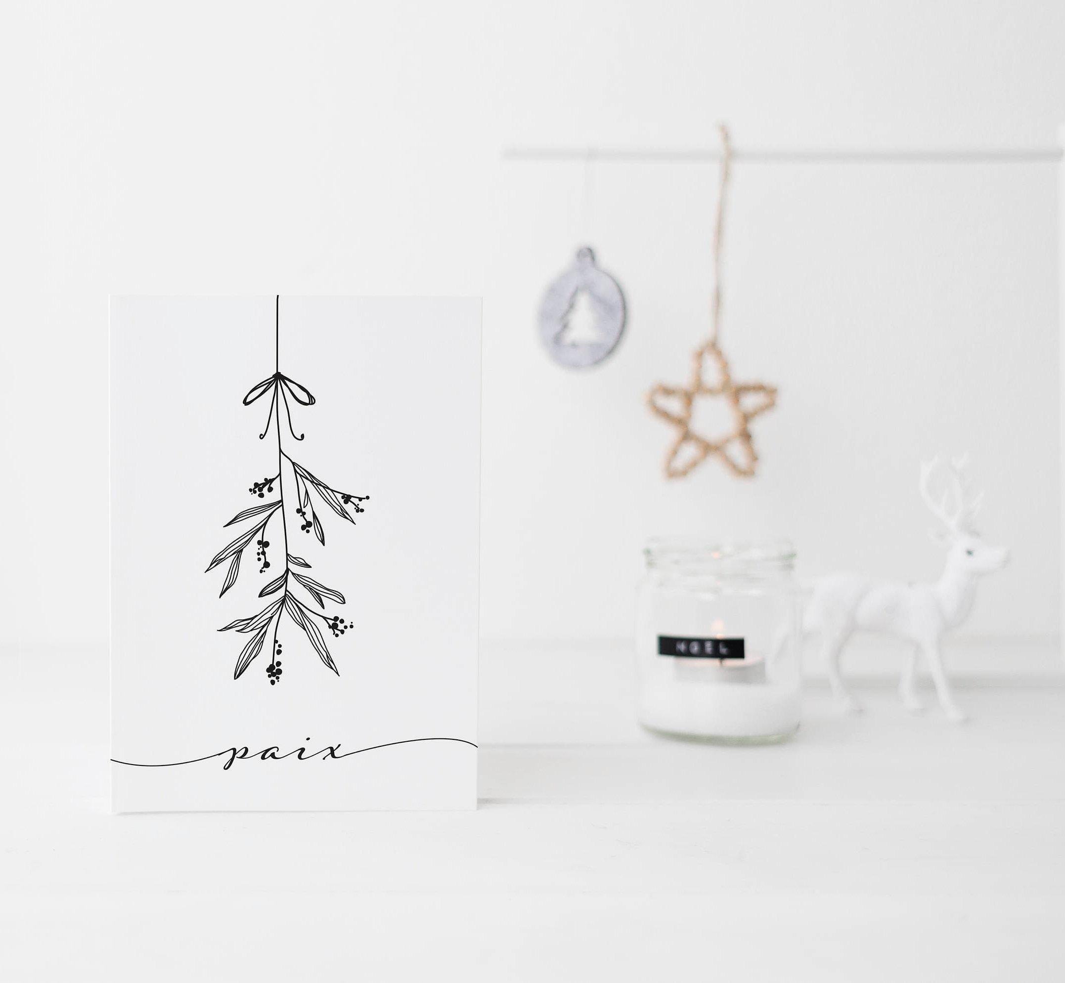 christmas stationary rustic christmas stationary traditional | Etsy