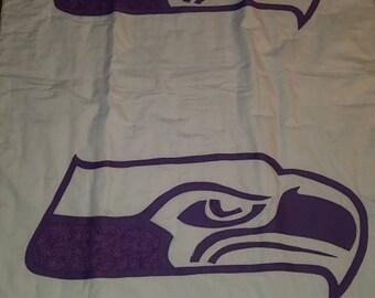 Purple lavender Seahawk lap quilt handmade