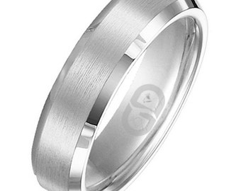 Stainless Steel 2 Color Screw Comfort Fit Half-Round Band Ring