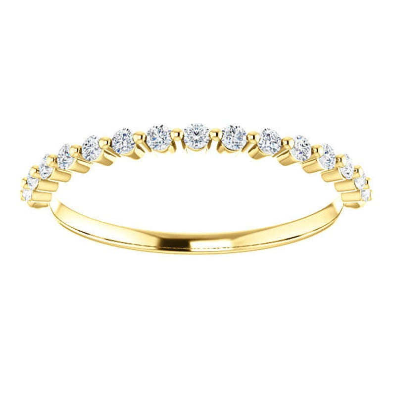 14K Rose Gold Prong Set 0.22CT Diamond Accented Wedding Engagement Anniversary Bridal Band Ring Sizes 4 to 9
