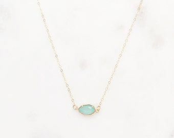 Stone Necklace, Dainty Gold Necklace, Bridesmaid Necklace, Bridal Jewelry, CORA