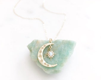 Moon Necklace, Crescent Moon Necklace, Opal Moon Necklace, Opal Necklace, Star Necklace, Dainty Gold Necklace, Star Moon Necklace, Aurora