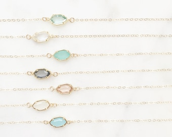 CORA | Dainty Gold Stone Necklace | Glass Stone Necklace | Tiny Stone Necklace | Dainty Gold Necklace | Gold Fill Necklace