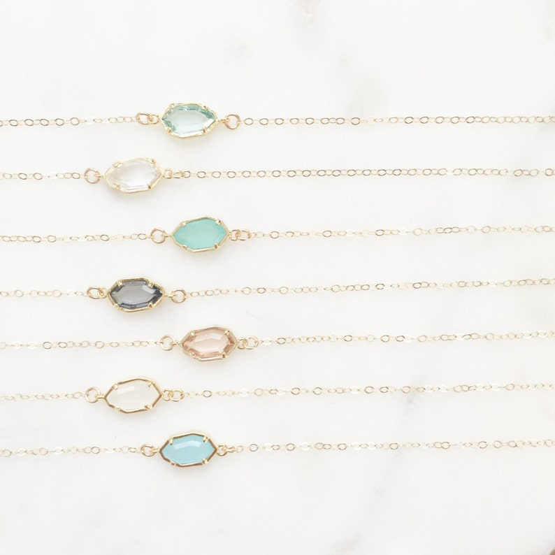 CORA  Dainty Gold Stone Necklace  Glass Stone Necklace  image 1