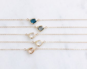 Crystal Necklace, Stone Necklace, Bridal Jewelry, Bridesmaid Gift, Dainty Crystal Necklace, Bridal Necklace, Bridesmaid Necklace, CLARA