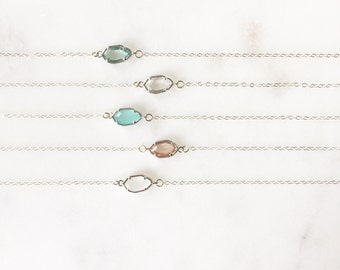 CORA | Dainty Silver Stone Necklace | Glass Stone Necklace | Tiny Stone Necklace | Dainty Silver Necklace | Sterling Silver Necklace