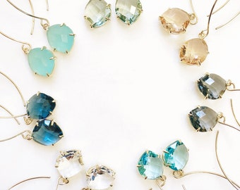 MAYA | Stone Threader Earrings | Dangle Earrings | Long Gold Wire Threader Earrings | Stone Gold Filled Threaders | Stone Threaders