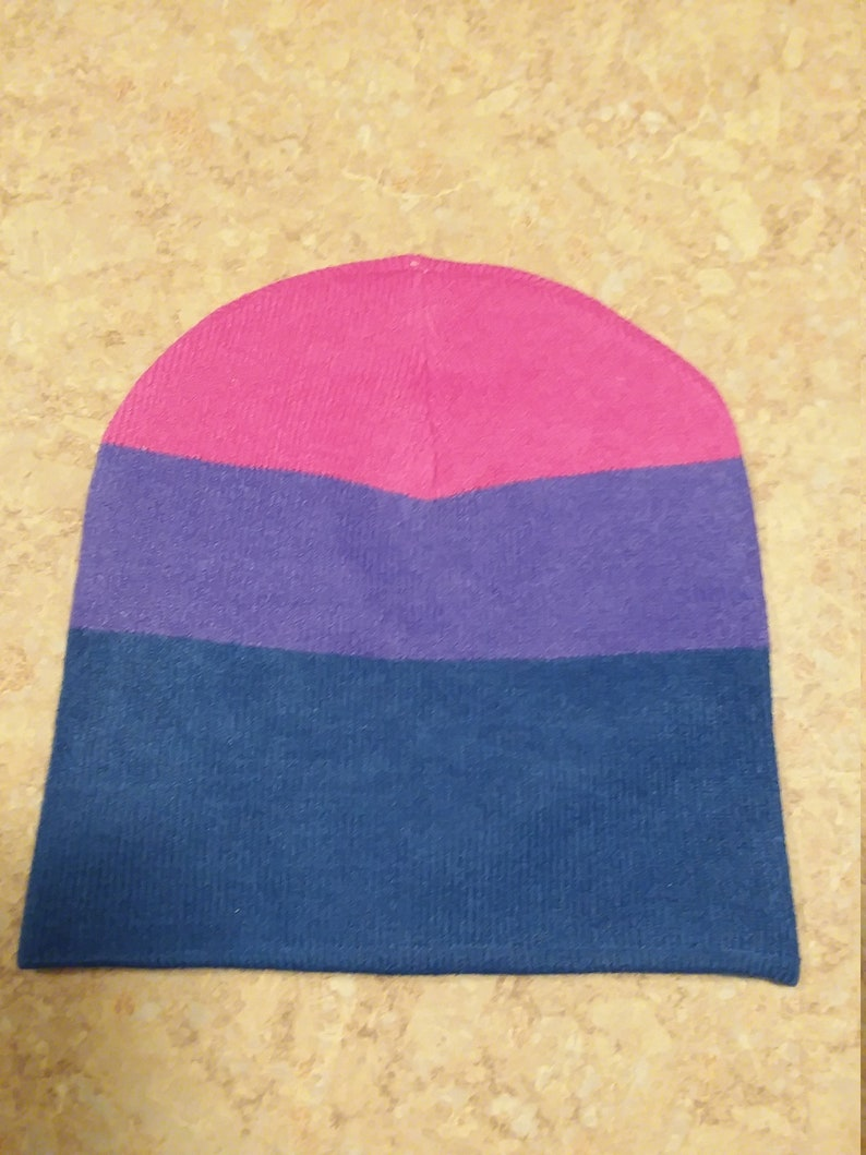 Bisexual Beanie Hat pink Bi purple hat for bi-sexual support both LGBT Bi-Sexual beanies LGBTQ Gift for him or her winter or other blue
