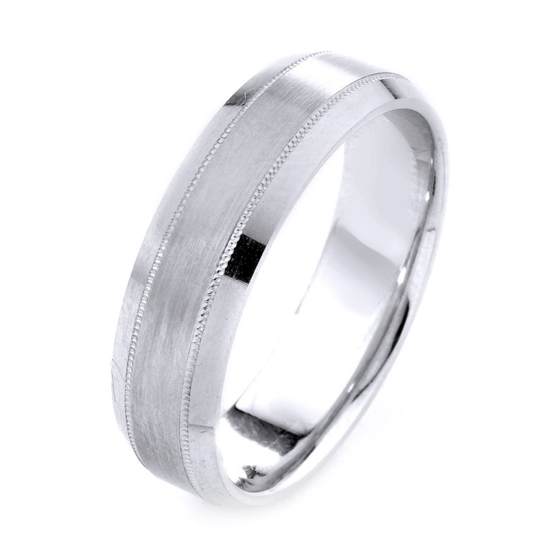 Womens Mens 14K White Gold Ring Matte Engagement Wedding Band Width 6mm Free Engraving