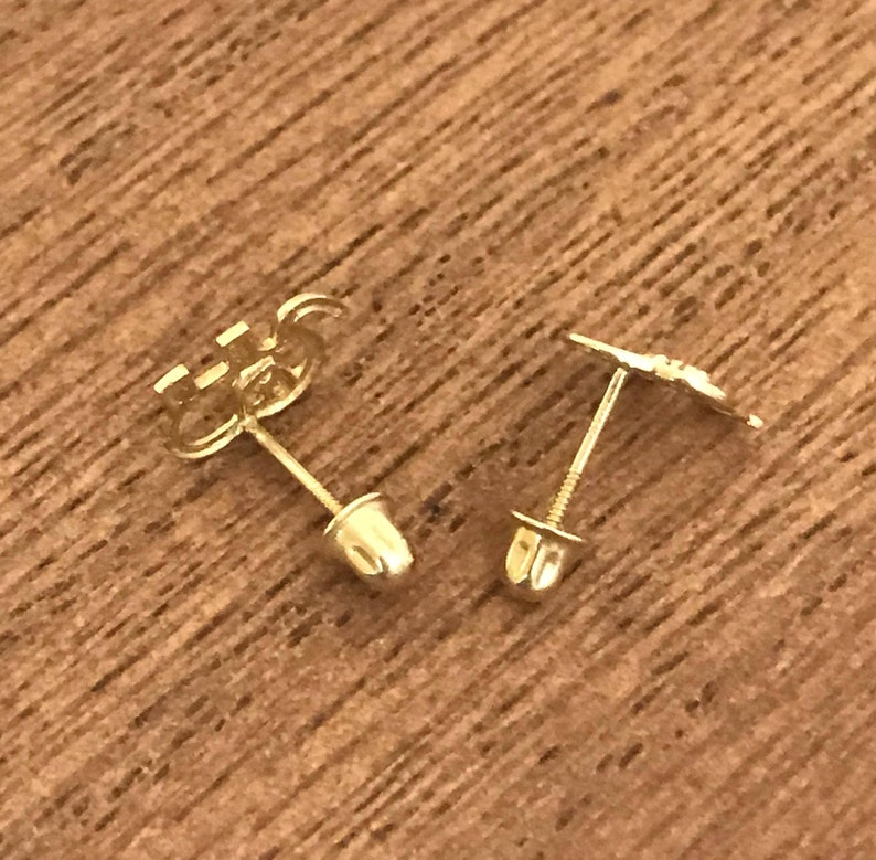 14k Solid Gold Elephant Earrings with cubic zirconia ball screw back Ball stud