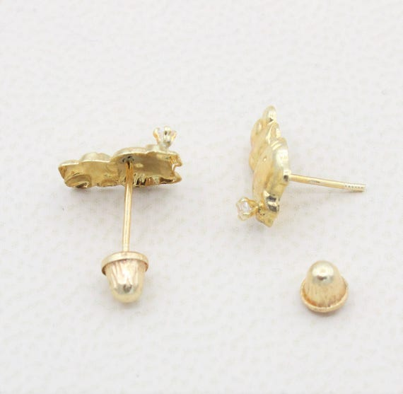 14k Solid Yellow Gold Girls Babies Hello Kitty Stud Earrings Etsy