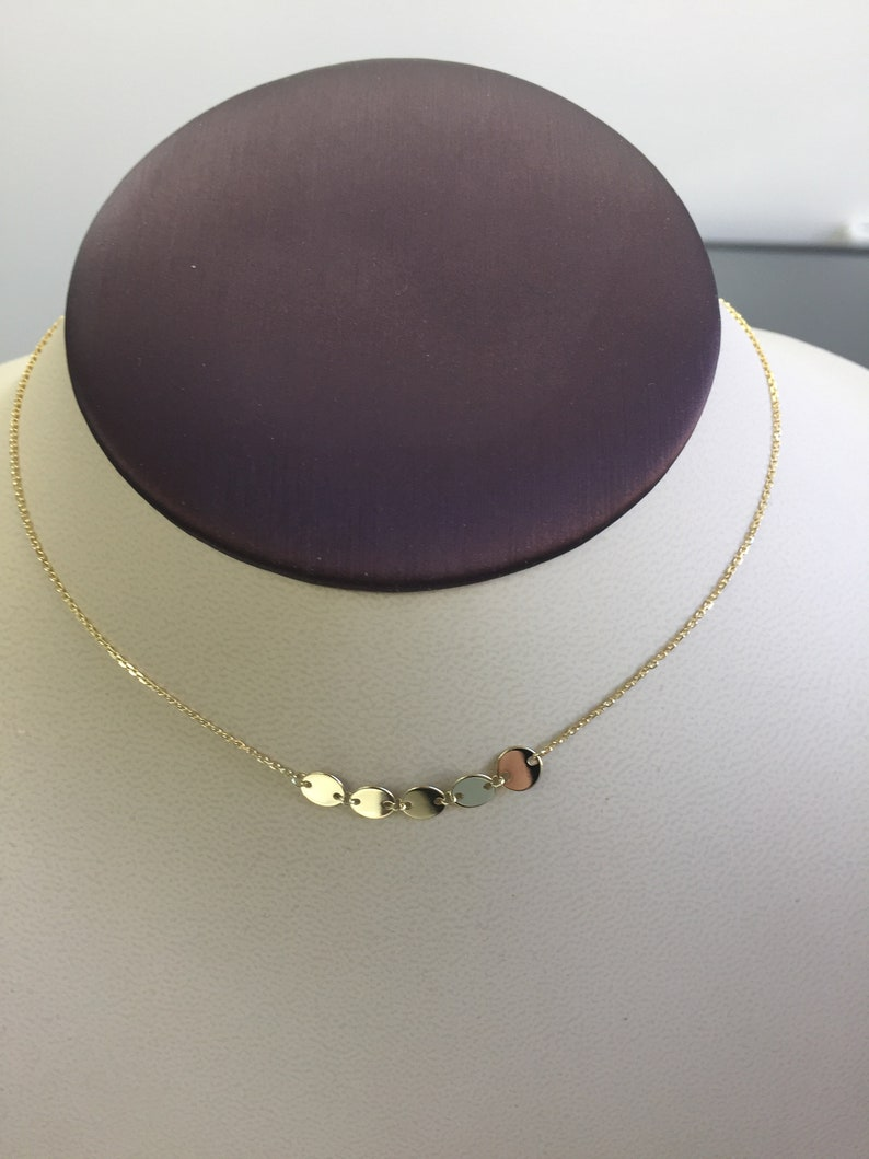 39aeab18aa620 Solid 14k yellow gold Choker necklace circles plain 16 inches Slider  Adjustable