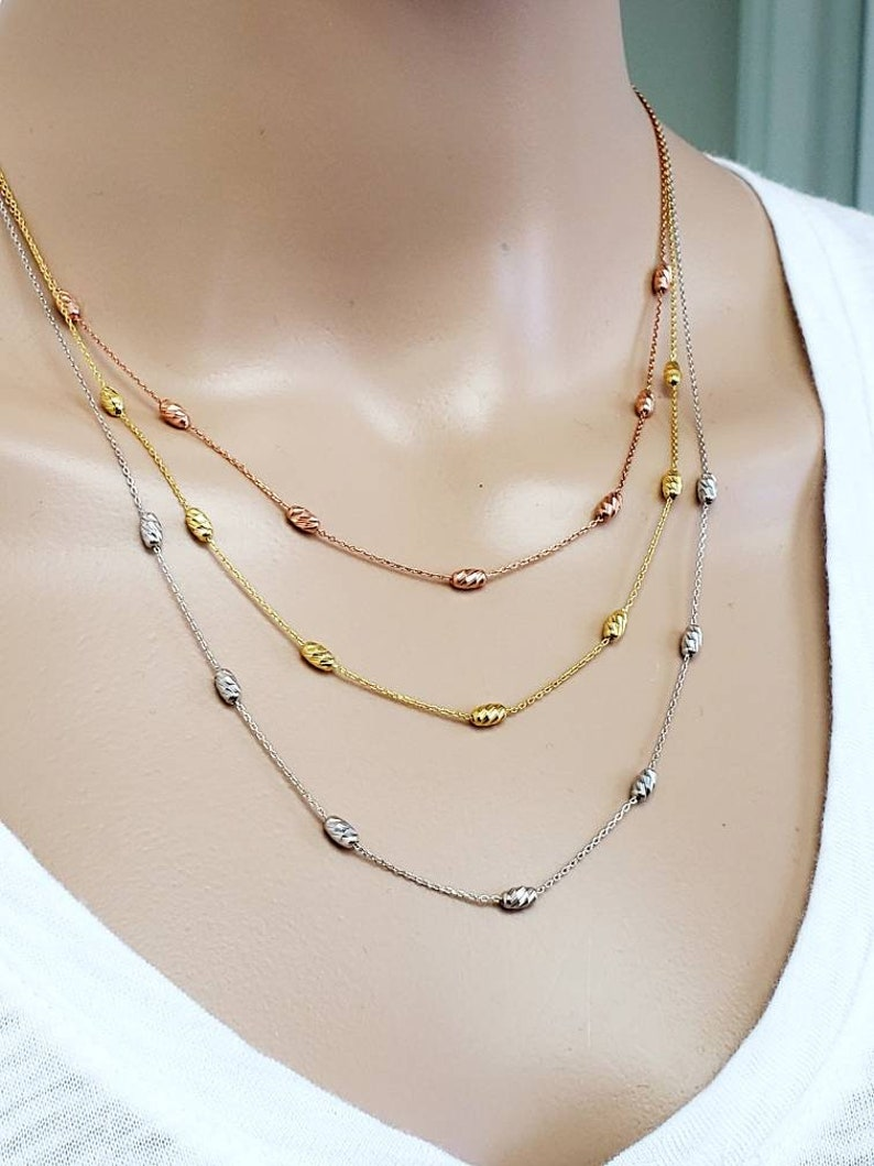 14k solid gold women necklace  three oval beaded strands yellow white rose gold 18