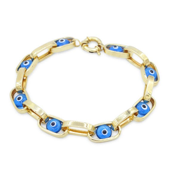 Good Luck Charm Chain Link Women 14K Solid Yellow Gold Blue Evil Eye Bracelet