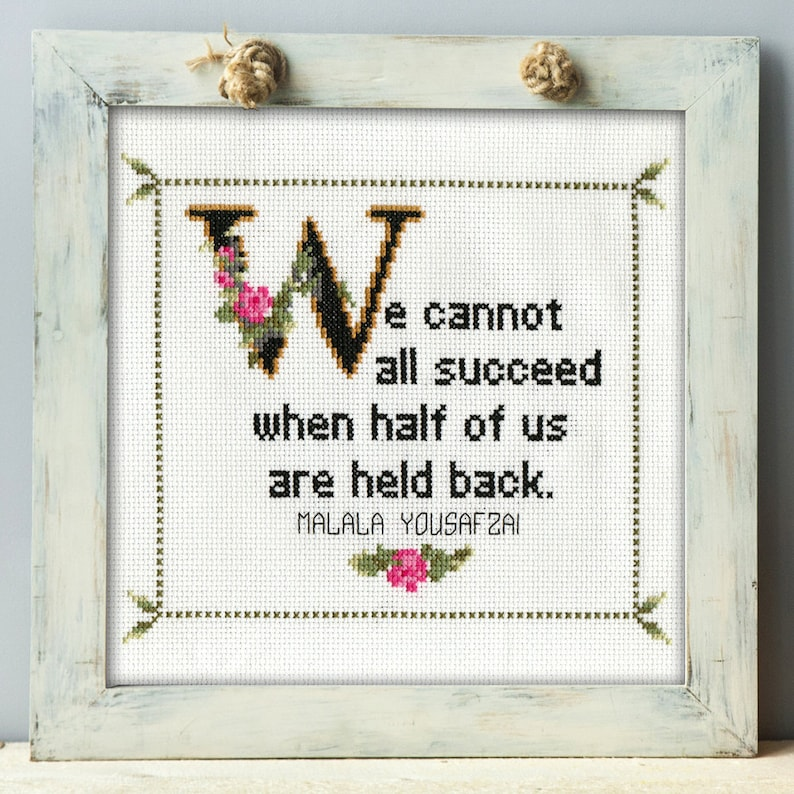 Malala Yousafzai Quote Cross Stitch Pattern PDF: We Cannot All image 0
