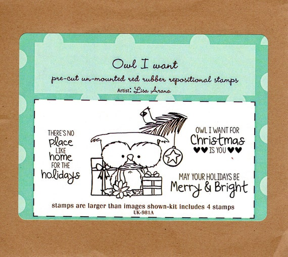 Owl I Want Rubber Stamp Set Unity Stamps Artist Lisa Arana Cute Owl Surrounded With Christmas Presents Pine Branch Bird Star Words