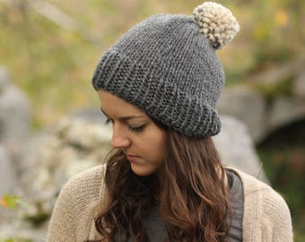 Grey Pom Pom Hat - Made in Canada by Wool and Warmth