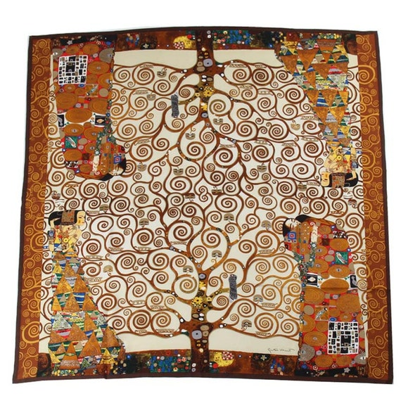 39fcfc3993a4 Gustav Klimt la main Arbre de vie soie Twill carré foulard   Etsy