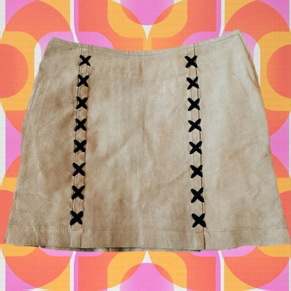 Vintage 90s does 60s Tan Suede Mini Skirt with Lac