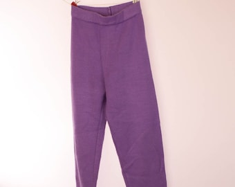 Childs  trousers, girls leggings, boys trousers, lilac, mauve, pale purple,  acrylic knit,  Vintage pre-loved, Length 75 cm / 29 in